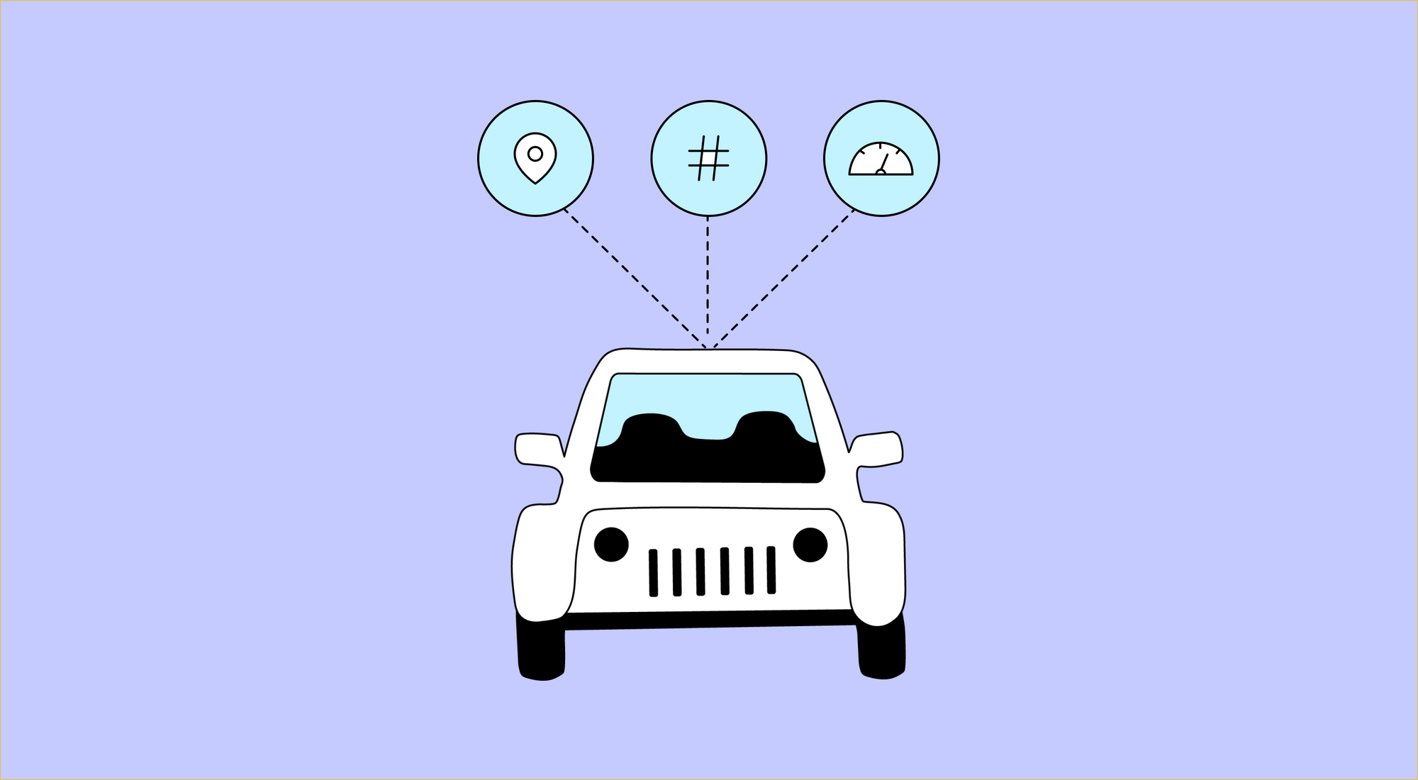 Illustration of a car with three circles connecting to it. Inside the circles there are an illustration of a pin, a pound sign, and an odometer reading.