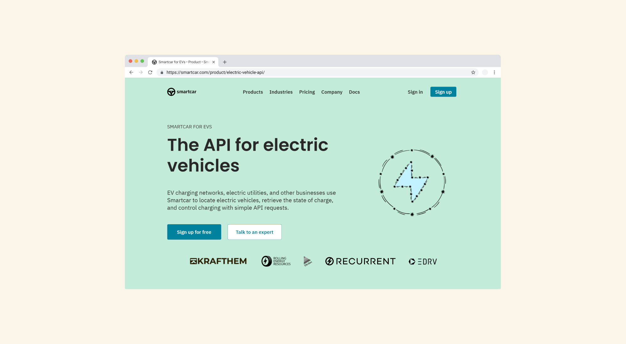 """A screenshot of the Smartcar website showing a marketing page entitled """"The API for electric vehicles"""""""