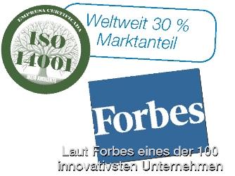 Weltweit 30% Marktanteil. Laut Forbes eines der 100 innovativsten Unternehmen