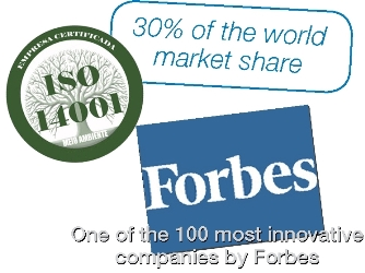 30% of world market share. One of the 100 most innovative companies by Forbes. ISO 14001
