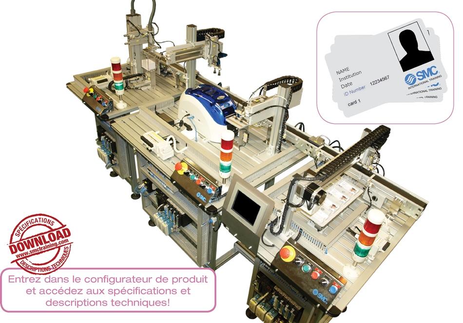 CPS-200 - Système automatisé de production contextualisé dans l'impression de cartes intelligentes, d'utilisation répandue pour le contrôle d'accès et d'identification. Il possède la technologie RFID de lecture / écriture.