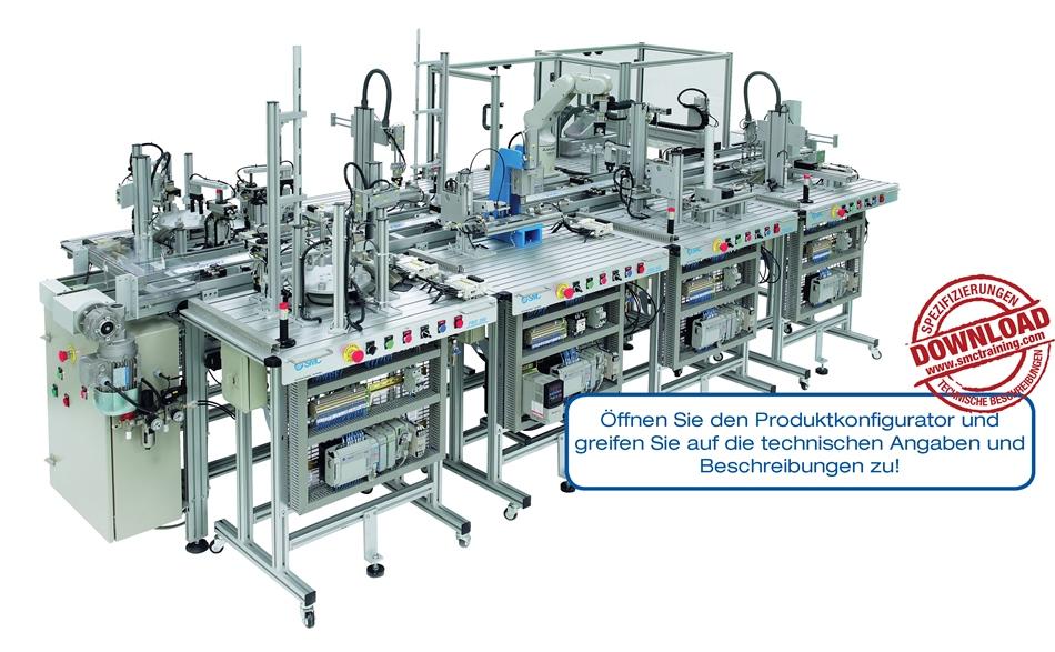 FMS-200 - Durchgehend modulare und flexible didaktische Vorrichtung, hergestellt mit industriellen Komponenten. Ermöglicht integrale Schulungen in industrieller Automatisierung