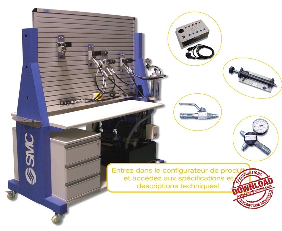 HYDROTRAINER-200 - L'équipement didactique entièrement modulaire  et flexible conçu pour le développement de compétences professionnelles dans le domaine de la hydraulique et de l'électrohydraulique