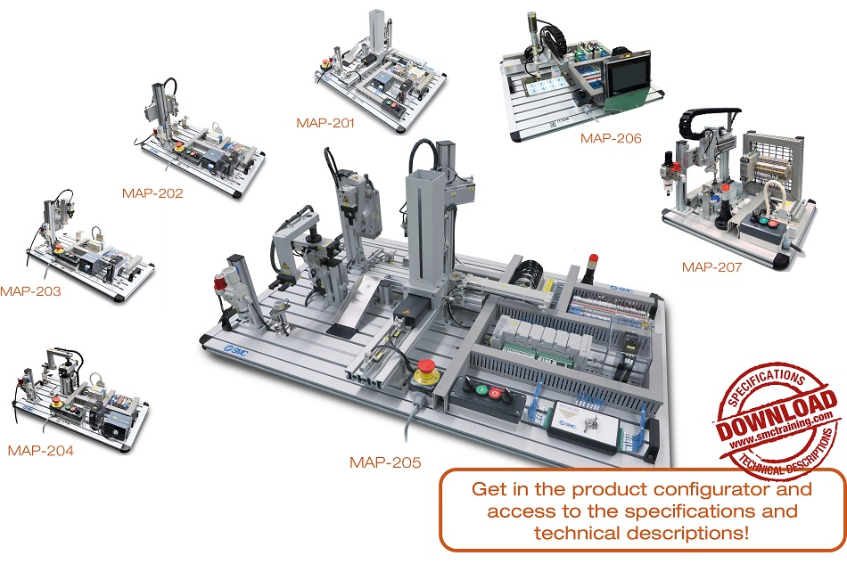 MAP-200 - 7 independent and different training systems. Each of these carries out a simple assembly process by reproducing subsets of more complex processes found in industry.