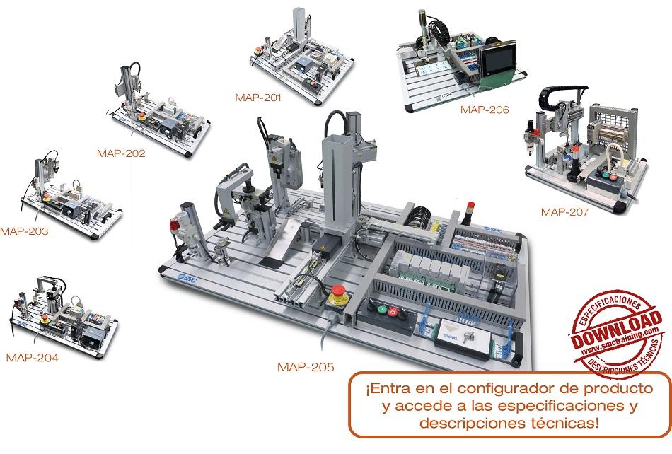 MAP-200 - 7 equipos didácticos independientes y diferentes. Cada uno de ellos reproduce un proceso de manipulación distinto, proporcionando una amplia visión de la realidad industrial.