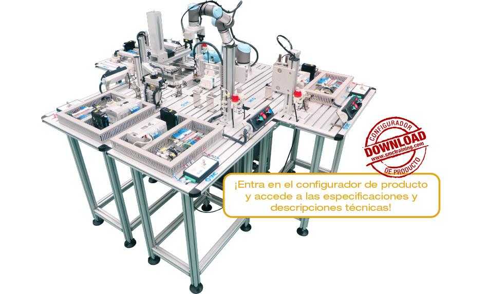 MAS-200 - Sistema modular de capacitación que emula un proceso de ensamblaje industrial real. Cinco estaciones totalmente autónomas que pueden trabajar de forma integrada.