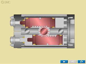 animación actuador piñón cremallera doble