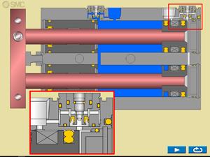 Animación cilindro de doble vástago