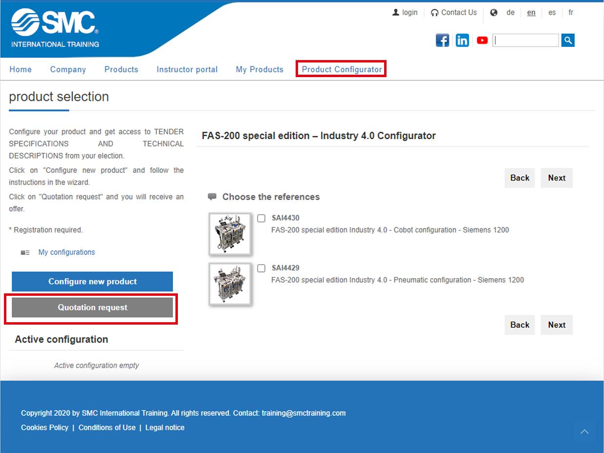 Produkt-Konfigurator Spezialedition des Systems FAS-200