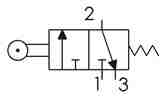 Symbolique - Distributeur 3/2 NF actionnée par galet