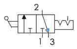 Symbolique - Distributeur 3/2 NF bistable actionnée par un commutateur