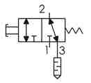 Symbolique - Distributeur 3/2 NF-NO actionnée par bouton poussoir