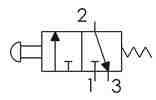 Symbolique - Distributeur 3/2 NF actionnée par bouton d'arrêt d'urgence