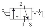 Symbolique - Distributeur 3/2 actionnée par levier avec verrouillage