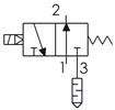 Symbolique - Électrodistributeur 3/2 monostable NO