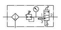 Symbology - Air cleaning unit with 3/2 distribution valve