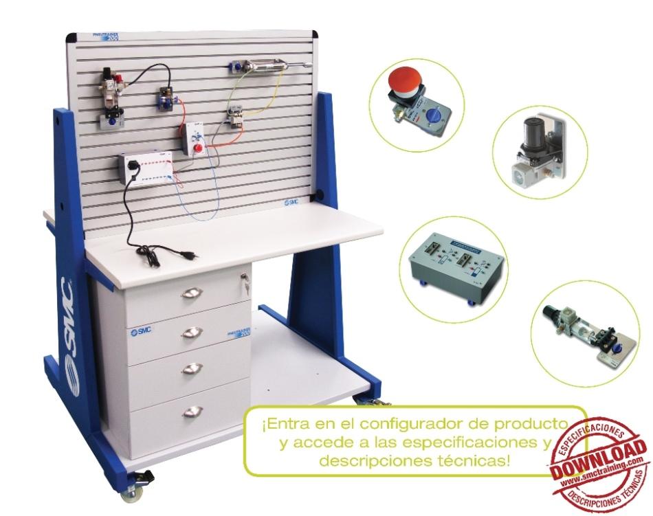 PNEUTRAINER-200 - Equipo didáctico totalmente modular y flexible, concebido para el desarrollo de las capacidades profesionales relacionadas con la neumática y la electroneumática.