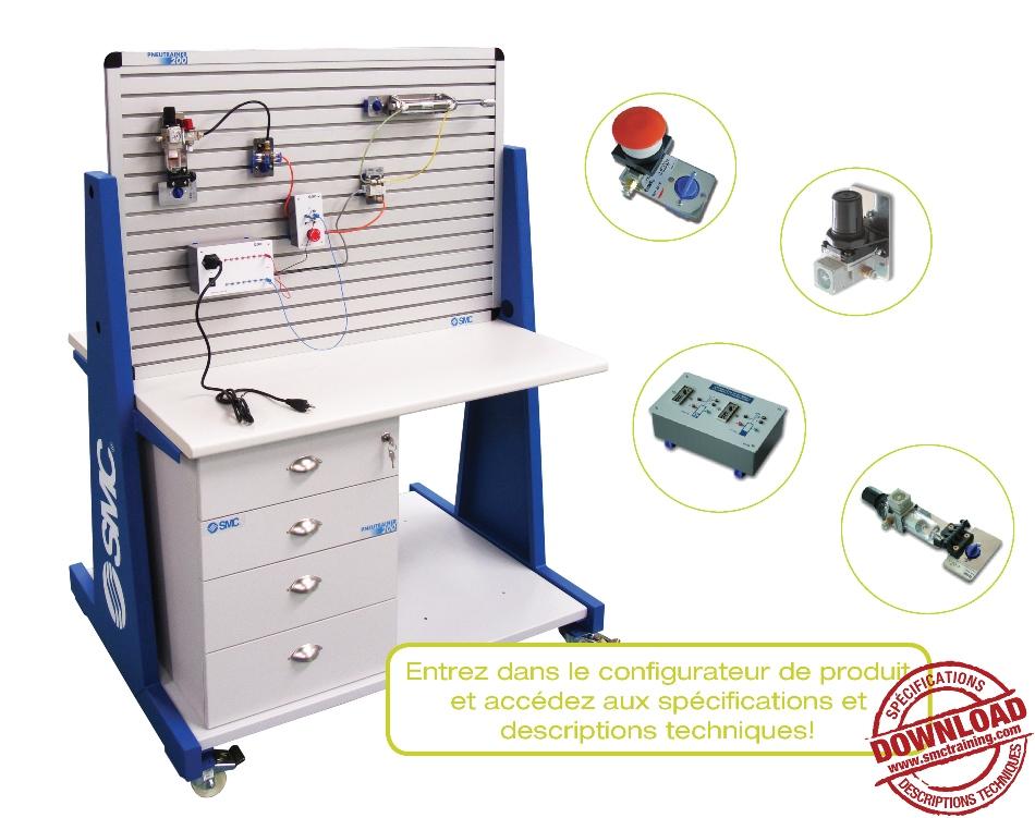PNEUTRAINER-200 - L'équipement didactique entièrement modulaire  et flexible conçu pour le développement de compétences professionnelles dans le domaine de la pneumatique et de l'électropneumatique
