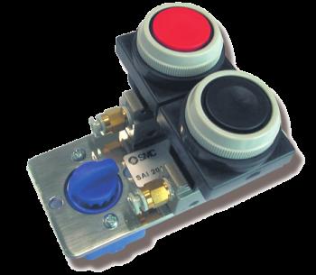 SAI2017 - Double distributeur 3/2 NF actionnée par bouton poussoir
