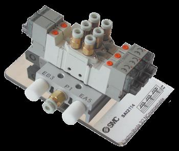 SAI2114 - Bloc 2 électrodistributeurs: 5/2 bistable + 1 monostable