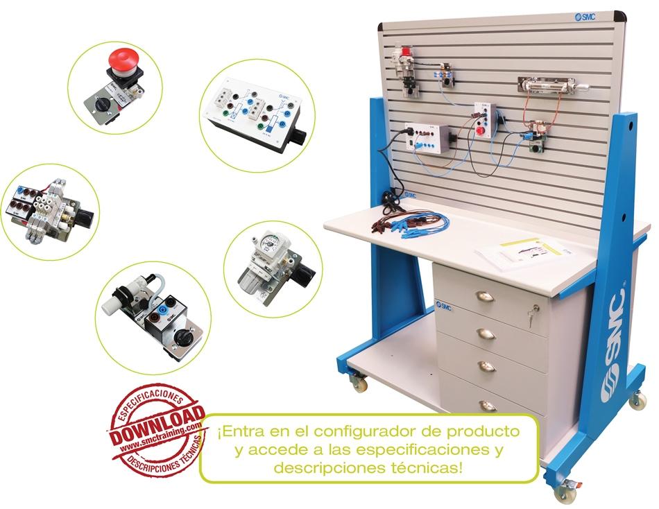 PNEUTRAINER-400 - Equipo didáctico totalmente modular y flexible, concebido para el desarrollo de las capacidades profesionales relacionadas con la neumática y la electroneumática.