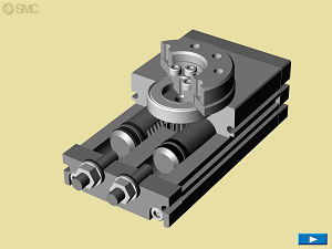Animation – Rotary table rack and pinion style