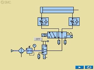 Animationsgrafik einer Pneumatikschaltung