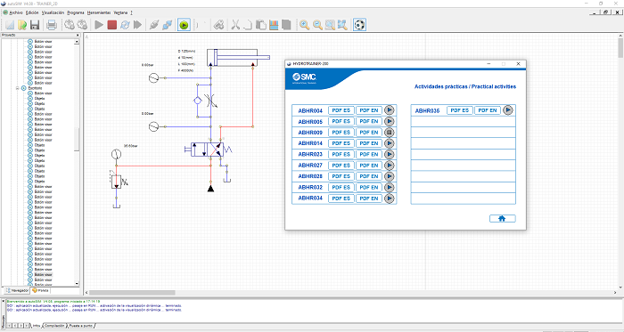 Aplicacion 2D del HYDROTRAINER-200 para autoSIM-200