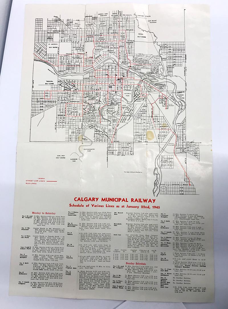 'Calgary Municipal Railway 1945 Map'