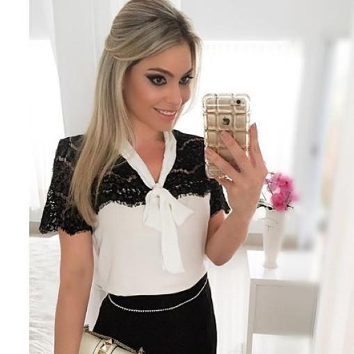 gola gravata a vers o de blusa feminina   toque masculino
