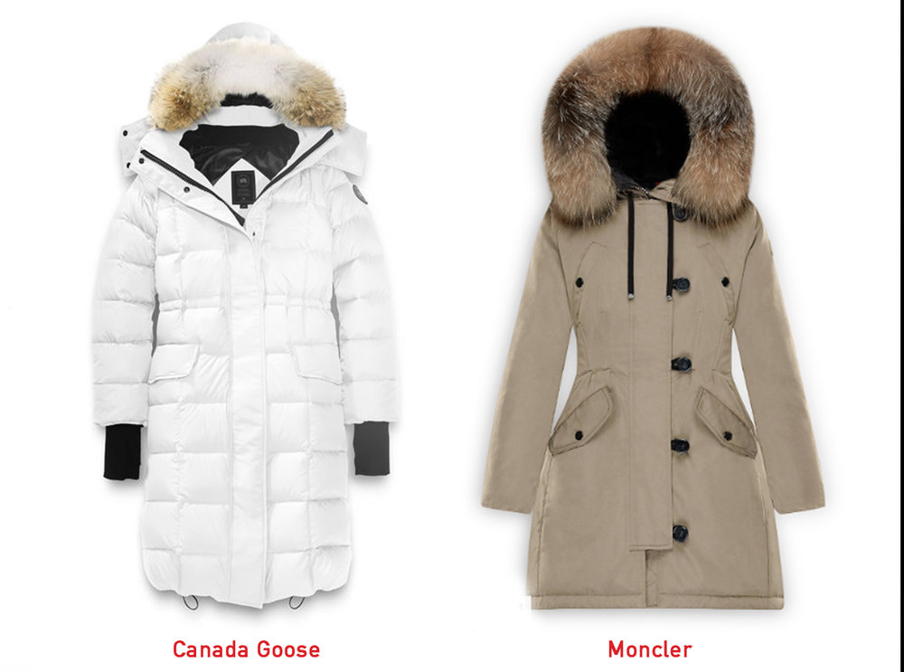 A side-by-side fit comparison. There are puffier models of Moncler as