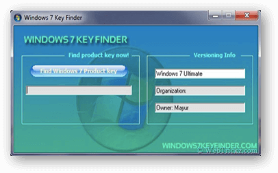 Step 1, Windows 7 Key Finder Dialog window