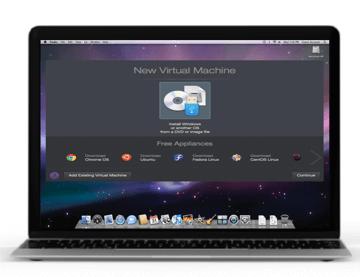 Mac screen with open dialog window New Virtual Machine