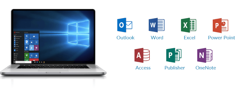 Laptop and MS Office programs - Outlook, Word, Excel, Power Point, Access, Piblisher, OneNOte