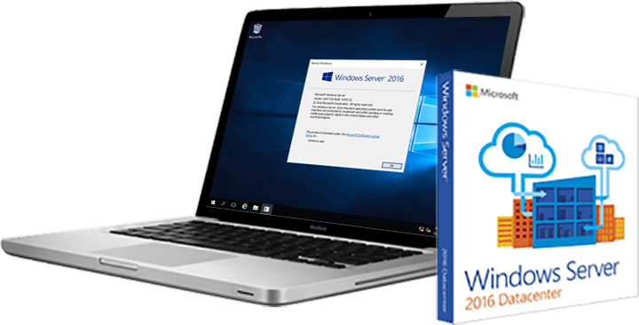 Macbook and Microsoft Windows Server 2016 Datacenter Product
