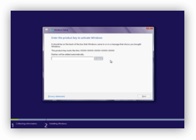 Dialog window with prompt to enter Windows Product Key