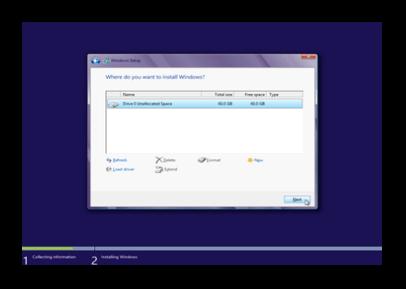 Dialog window Where do you want to install Windows?