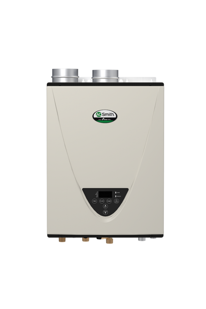 Tankless water heater pairs with recirculation pump
