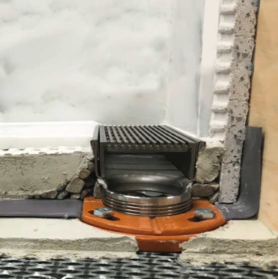 Smaller footprint for clamping floor drain