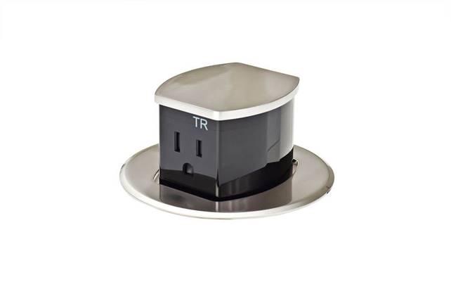 Low-profile, pop-up power receptacles