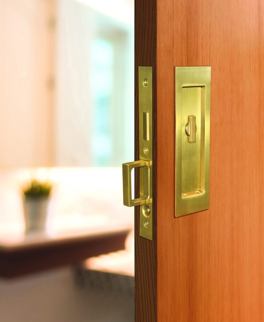 Brass, stainless steel pocket door hardware