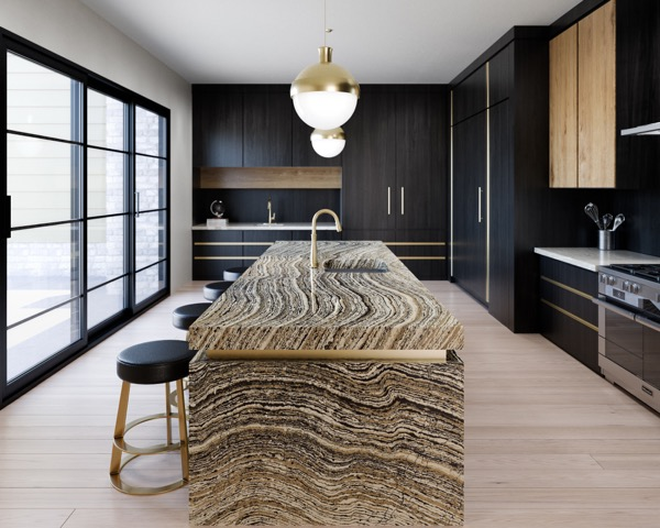 Quartz surfacing inspired by wood grains