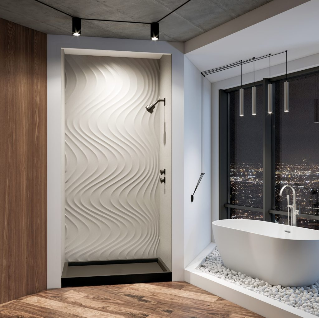 Artistic shower element in four colors