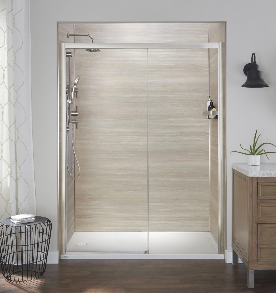 Semi-frameless, reversible shower doors