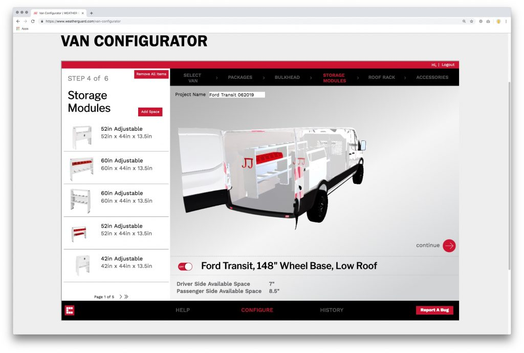 Interactive van customization tool