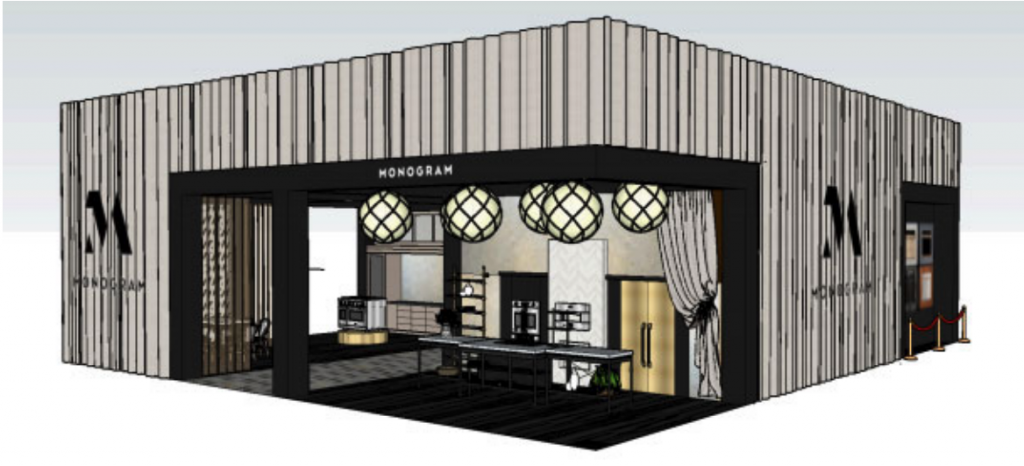 A rendering of the Monogram booth at KBIS 2020.