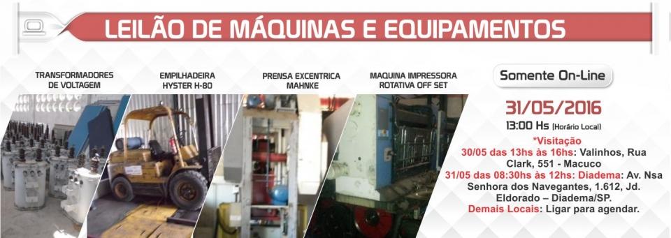 Leil�o de M�quinas e Equipamentos - 31/05/2016