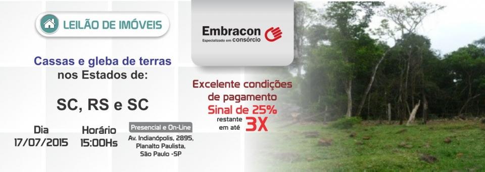 Leil�o de Im�veis banco Embracon - 17/07/15