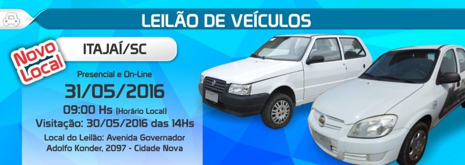 Leil�o de ve�culos em Itaja�/SC - 31/05/16