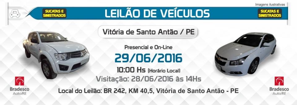 Leil�o de Sucatas e Sinistrados - Vit�ria de Santo Ant�o - 29/06/2016